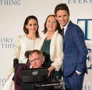 Stephen Hawking with the cast of Theory of Everything